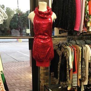 Sequin High Cowl neck Dress Top